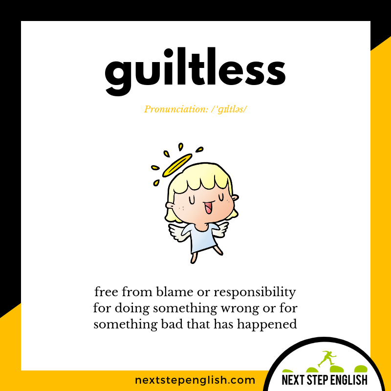 learn-English-listening-vocabulary-define-GUILTLESS-meaning-Next-Step-English