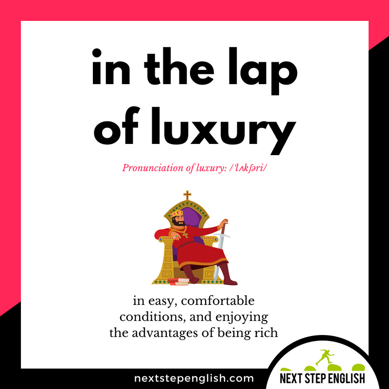 vocabulary-idiom-IN-THE-LAP-OF-LUXURY-meaning-Next-Step-English