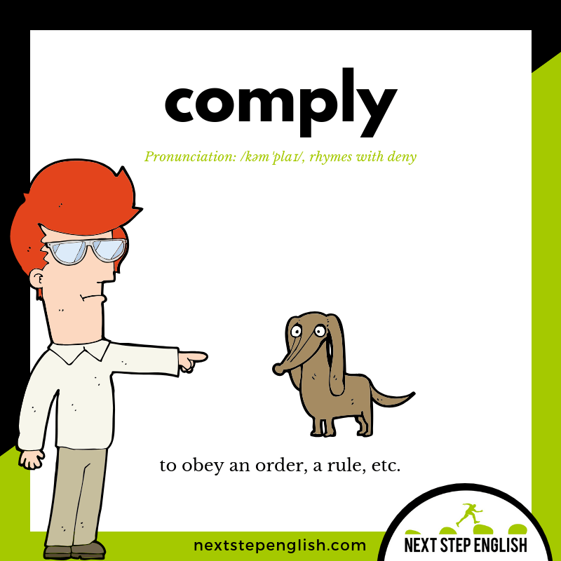 define-COMPLY-meaning-Next-Step-English-Halloween-Words-Dictations