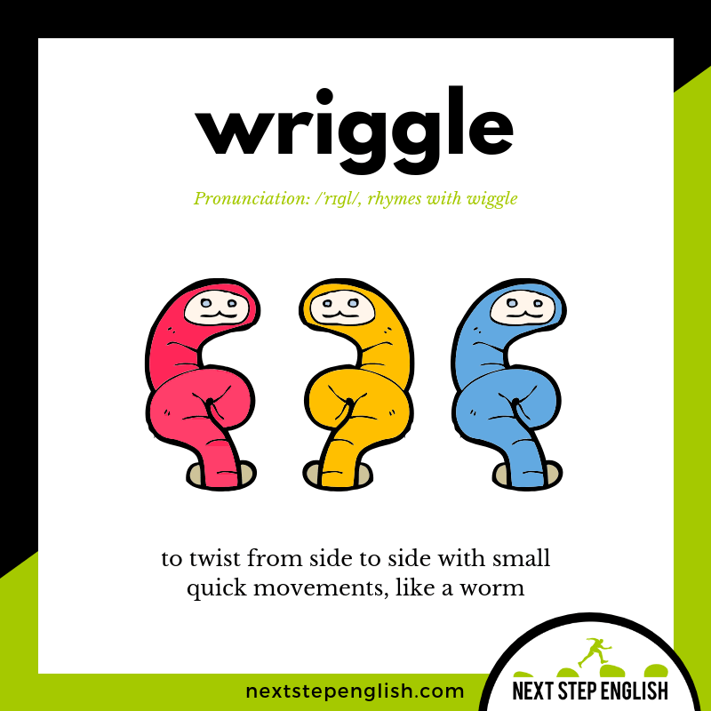 WRIGGLE Meaning (Next Step English Visual Vocabulary Card)