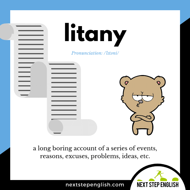 LITANY Meaning (Next Step English Visual Vocabulary Card)