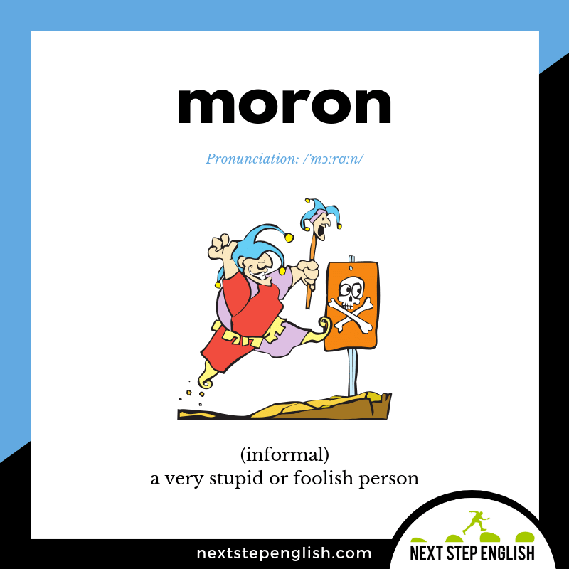 MORON Meaning (Dumb Synonym) (Next Step English Visual Vocabulary Card)